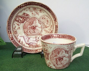 Antique 1880's Staffordshire LITTLE MAE with Dog Cup and Saucer – Childs Tea Set – Allerton's – Red Burgundy Transferware – England –