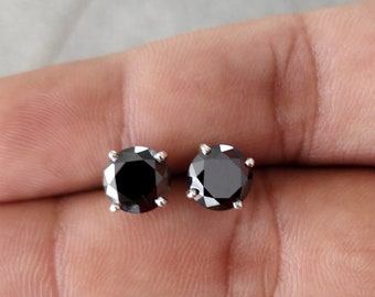 2.00 Carat Black Round Moissanite 925 Sterling Silver Stud Earring | Stud Earring | Black Moissanite Earring