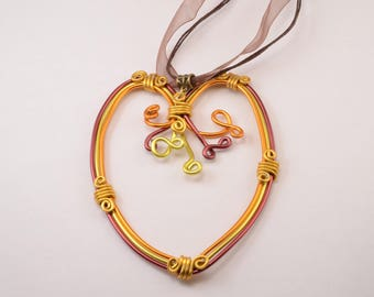 Large gold, orange and Burgundy Heart Necklace