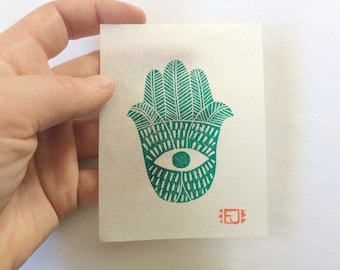 mini linocut - HAMSA // 3x4 art print // printmaking // block print // green // hand of fatima // original // small // miniature // eye