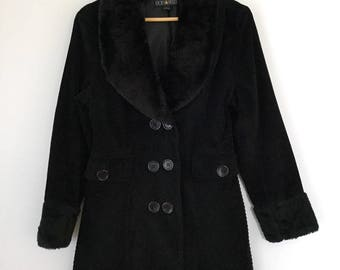 Vintage 90's women's black thick corduroy coat, double breasted coat with fake fur trim Pop Star coat,  Size Large, cotton winter coat
