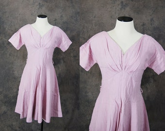 Clearance SALE vintage 50s Dress - 1950s Embroidered Pink Dress Party Dress Sz S M