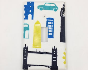 Travel London Light Switch Plate Cover / Outlet Cover / Bedroom / Home Decor / Baby Shower Gift / Nursery Decor / Kid's Room / England