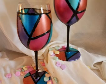 Faux Stained Glass Wine Glasses