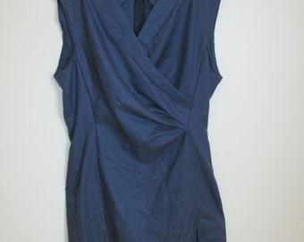 Handmade Blue Dress with Criss-Cross Neckline, size AU14