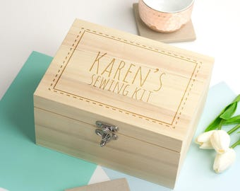 Sewing Box - Personalised Sewing Box - Keepsake Box - Sewing Kit Box - Wooden Keepsake Box - Sewing Gift - Gifts For Sewers - LC058