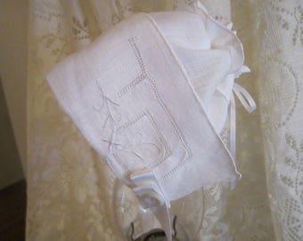 White Handkerchief Baby Bonnet
