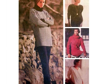 """Women's Tunic Top Sewing Pattern, Loose-fitting Misses' Size 10, 12 Bust 32.5 - 34"""" Uncut McCall's 6107"""