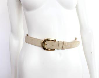 Jaeger Champagne Nubuck Leather Belt | Vintage Suede Leather Belt | Made in England | 28