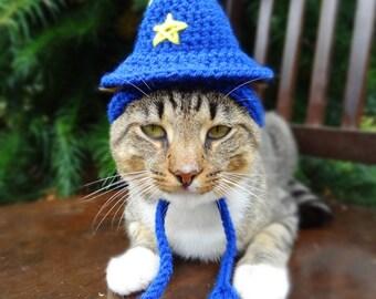 Wizard Cat Hat, Wizard Cat Costume, Wizard Hat for Cats,  Costume for Cats, Hats for Cats, Halloween Cat Costume, Cat Hats