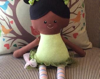 """Handmade Girl Dolly Layla Cloth Doll 17"""" Plush Softie Rag Doll Lime Green Black Wool Felt Hair"""