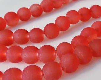 "WHOLESALE - Frosted Red 8mm Round Glass Beads (Three 30"" Strands)"