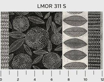 By The HALF YARD - Love More by Susan Black for P&B, #311-B Large Gray, Black, White Leaf and Floral Border Stripe, Leaves in a Row are 2.5""