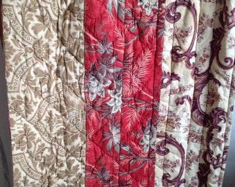 """Antique French Quilt Vintage Fabric Panel Provençal Boutis Quilt 1800s / French Textiles Decorative Antiques 79""""x 16"""" - Home Decor"""