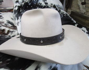 Handmade Leather Hat Band, Tooled Leather Hat Band with Nickel Plated Engraved Dome Spots, Adjustable Hat Band, SASS Hat Band