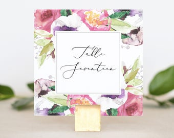 Table Numbers for Wedding Reception - Floral Wedding Table Number Printable - Reception Table Number Cards - Printed Table Numbers Wedding