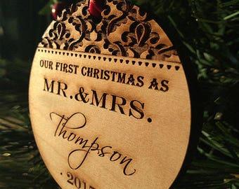 Personalized Christmas Ornaments , Our First Christmas Ornaments Wedding Gift For Newlyweds, Christmas Tree Ornaments // SKU#58