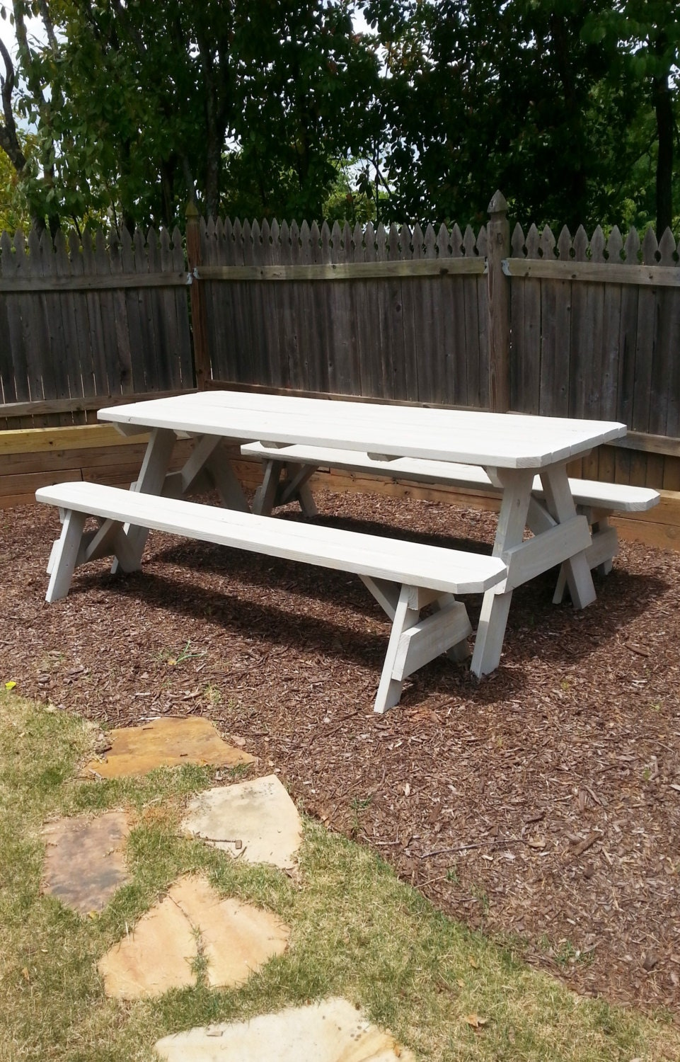 8ft picnic table with detached bench seating and a distressed. Black Bedroom Furniture Sets. Home Design Ideas