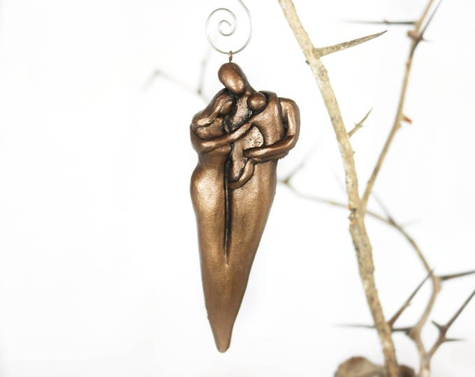 Family of Three Christmas Ornament  with an Older  Toddler - Bronze Finish 8th Wedding Anniversary Gift