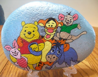 Hand painted Rock Winnie the Pooh and Friends