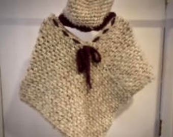 Child To Teen Beige Poncho With Messy Bun Hat