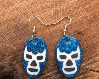 lucha libre earrings Blue Demon