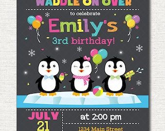 Penguin Birthday Invitation, Penguins Invite, Printable