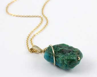 Turquoise Necklace - 14K Gold Filled Necklace Rough Turquoise - December Birthstone