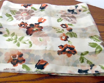 """Beautiful white w/brown florals, 100% polyester ladies' scarf.  Made in Korea, Like new. Women's scarves, ladies accessories, 12x56"""""""