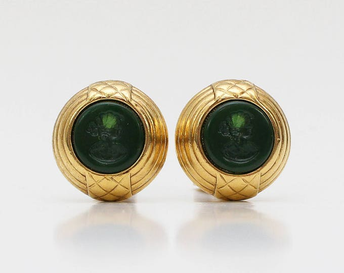 Vintage 1970s Vendome Green Cameo Clip On Earrings