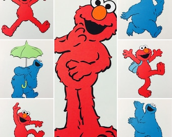 """7""""-10"""" Elmo and Cookie Monster Cut-Outs"""