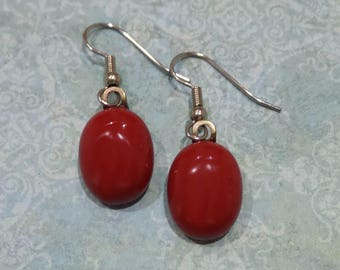 Red Earrings, Fused Glass Earrings, Red Dangle Earrings, Christmas, Valentines Day Jewelry, Ready to Ship - Rosey Red -7