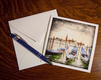 1310 Venice Gondola's Fine Art Note Cards Single Cards or 5 pack- Vintage Look - Italy - Italian - Vintage Look