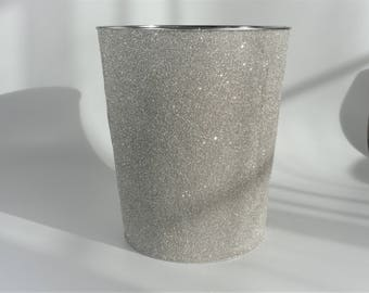 Waste bin decorated in luxury silver German glass glitter