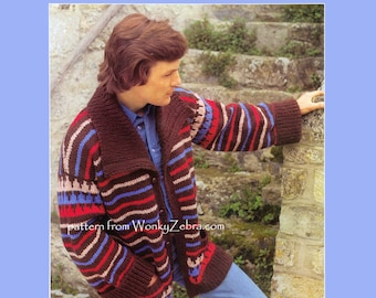 Vintage Knitting Pattern Mans Retro vintage Chunky Jacket Starsky Style PDF 824 from WonkyZebra