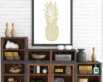 Pineapple Wall Print, Yellow Wall Prints, Yellow Pineapple, Gold Pineapple, Pineapple Art, Printable Wall Art, Yellow Home Decor, Printable