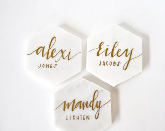 White Marble Calligraphy Place Cards