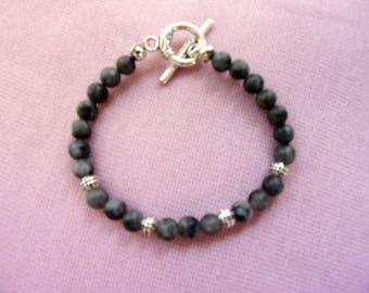 Matte black marble and pewter bracelet