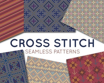 Cross Stitch Digital Paper Set - Ethnic Seamless Patterns Embroidery Scrapbooking Paper - Commercial Use Background Texture Unique Dark 46