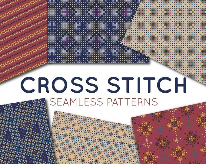 Cross Stitch Digital Paper Set