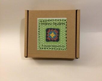 Granny Squares/a beginners crochet kit/crochet kit/ diy/crochet