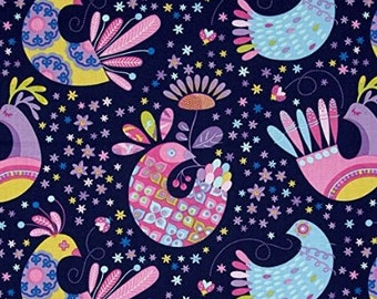 """Fat Quarter Only (18""""x22"""") Navy Feathers Flock From Michael Miller's Birds & The Bees from Tamara Kate"""