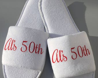 Birthday girl slippers, 50th birthday, 60th birthday, 40th birthday, spa slippers, birthday spa day gift, bithday gift, personalised gift