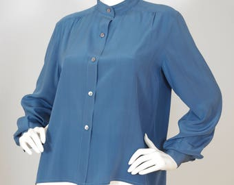 Mario Valentino 1970s Vintage Women's Blue Silk Blouse Sz M