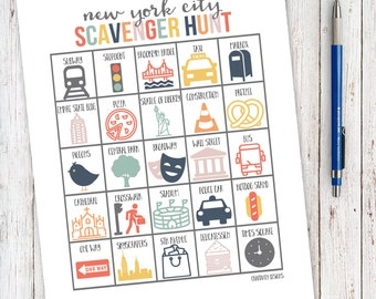 Scavenger Hunt NYC, Travel Scavenger Hunt Game, New York City, Icons, I Spy, Travel Game, Family Activity, Vacation INSTANT DOWNLOAD, 8.5x11
