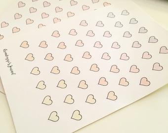 Mini pastel hearts stickers, journal stickers, planner stickers, sticker sheet