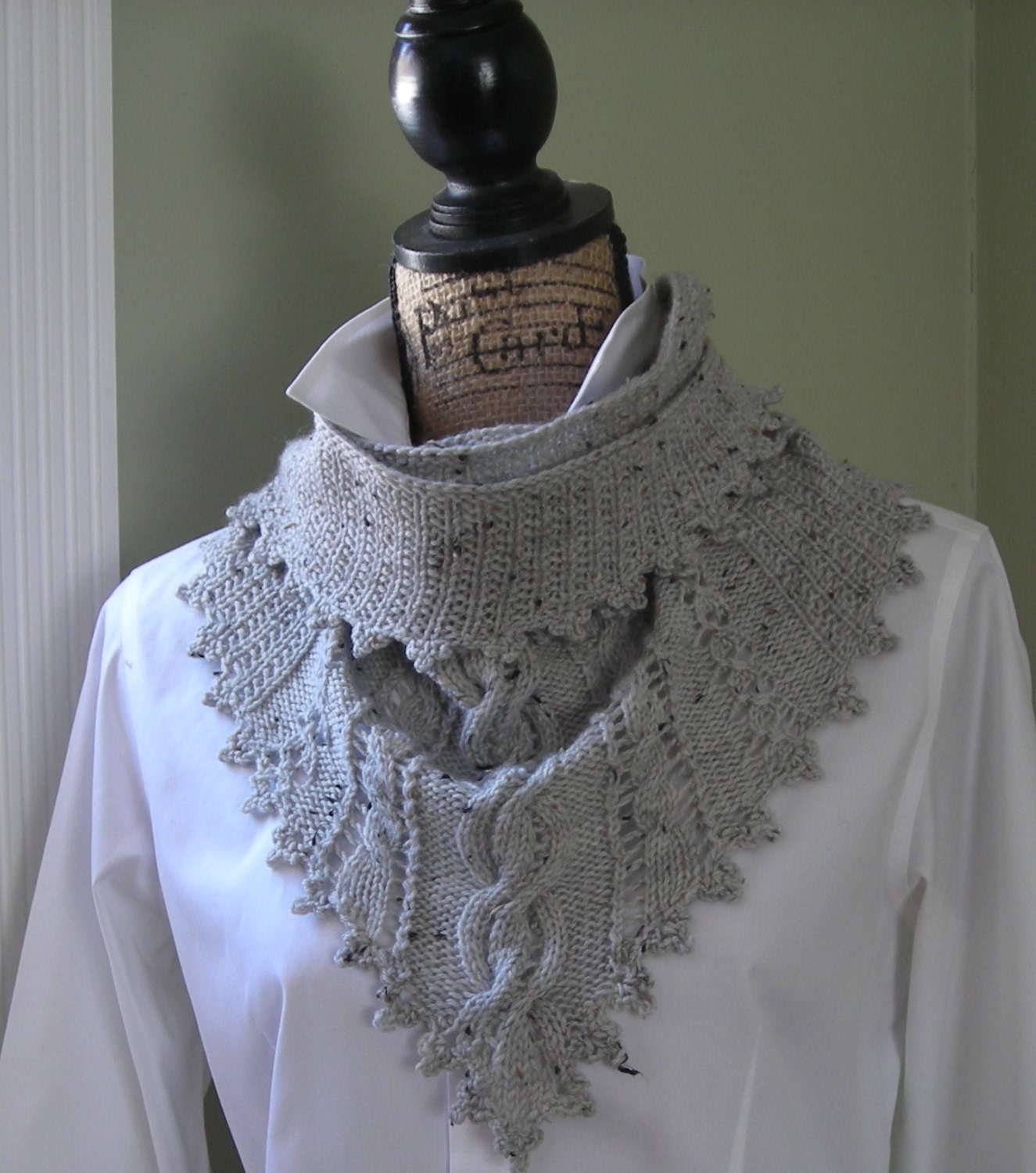 Knitting pattern - Clover Lace Cabled Shawlette crochet trim - PDF ...