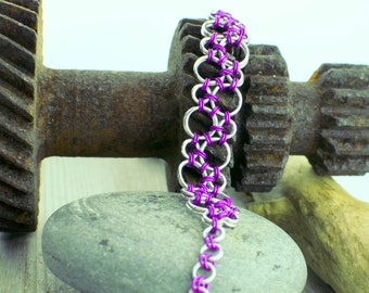 Violet Bubbles Chainmaille Bracelet - Ready To Ship