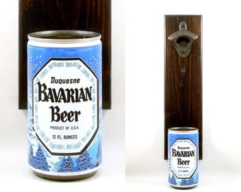 Wall Mounted Beer Bottle Opener With A Vintage Duquesne Bavarian Beer Can Cap Catcher - Rustic Barware Gift For Groomsmen Or  A Boyfriend