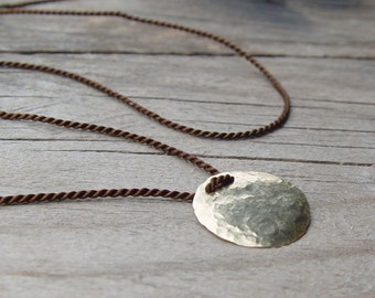 Dark Brown Pure Silk Necklace and an Organic Disc Pendant,  Hammered Gold Disc Necklace, Delicate Gold Necklace, Dainty Gold Necklace